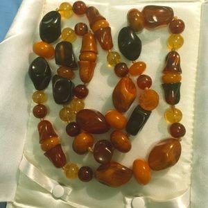 Vintage carved Amber nugget necklace